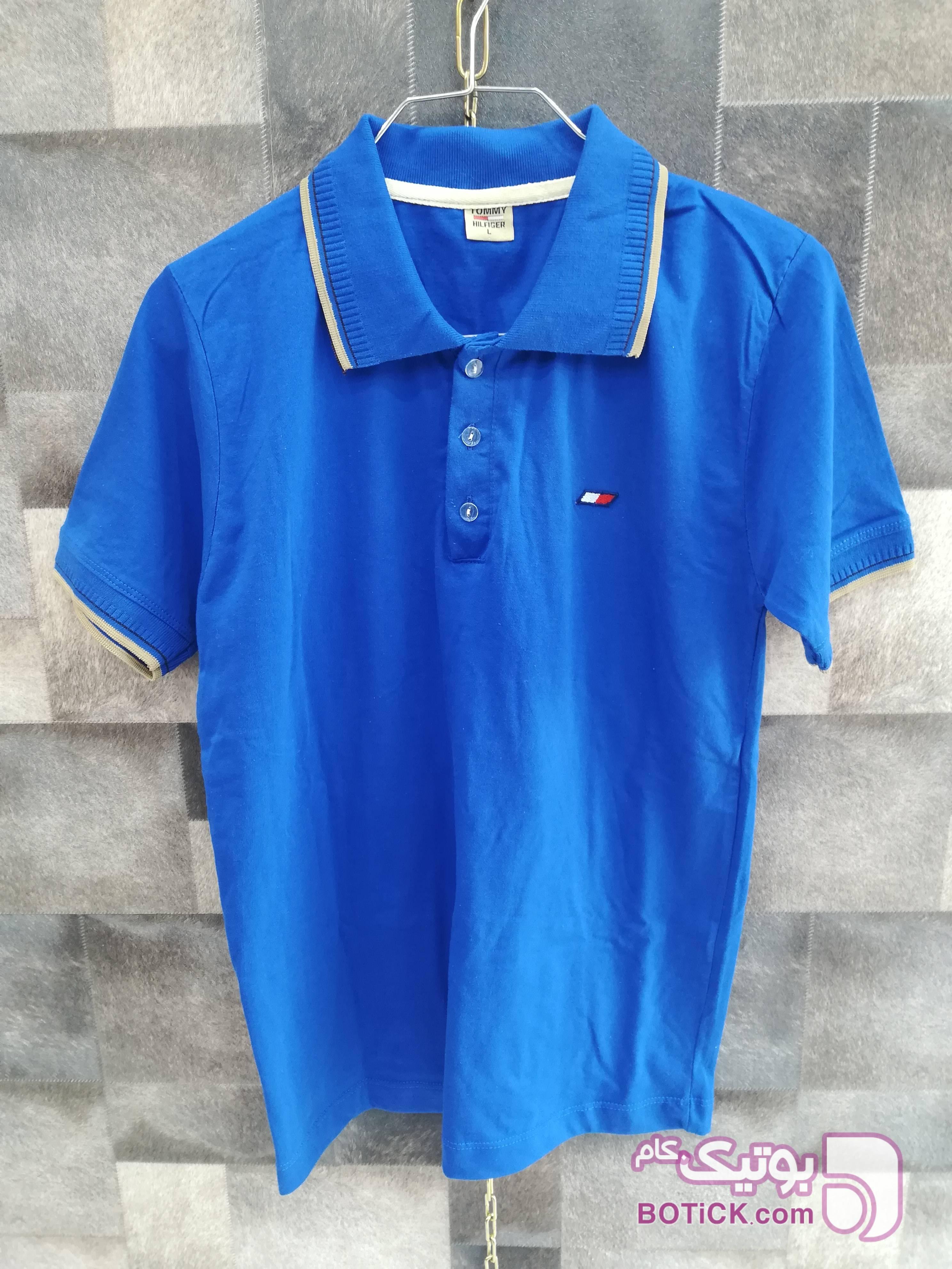 تیشرت پنبه یقه دار سایز لارج آبی تی شرت و پولو شرت مردانه