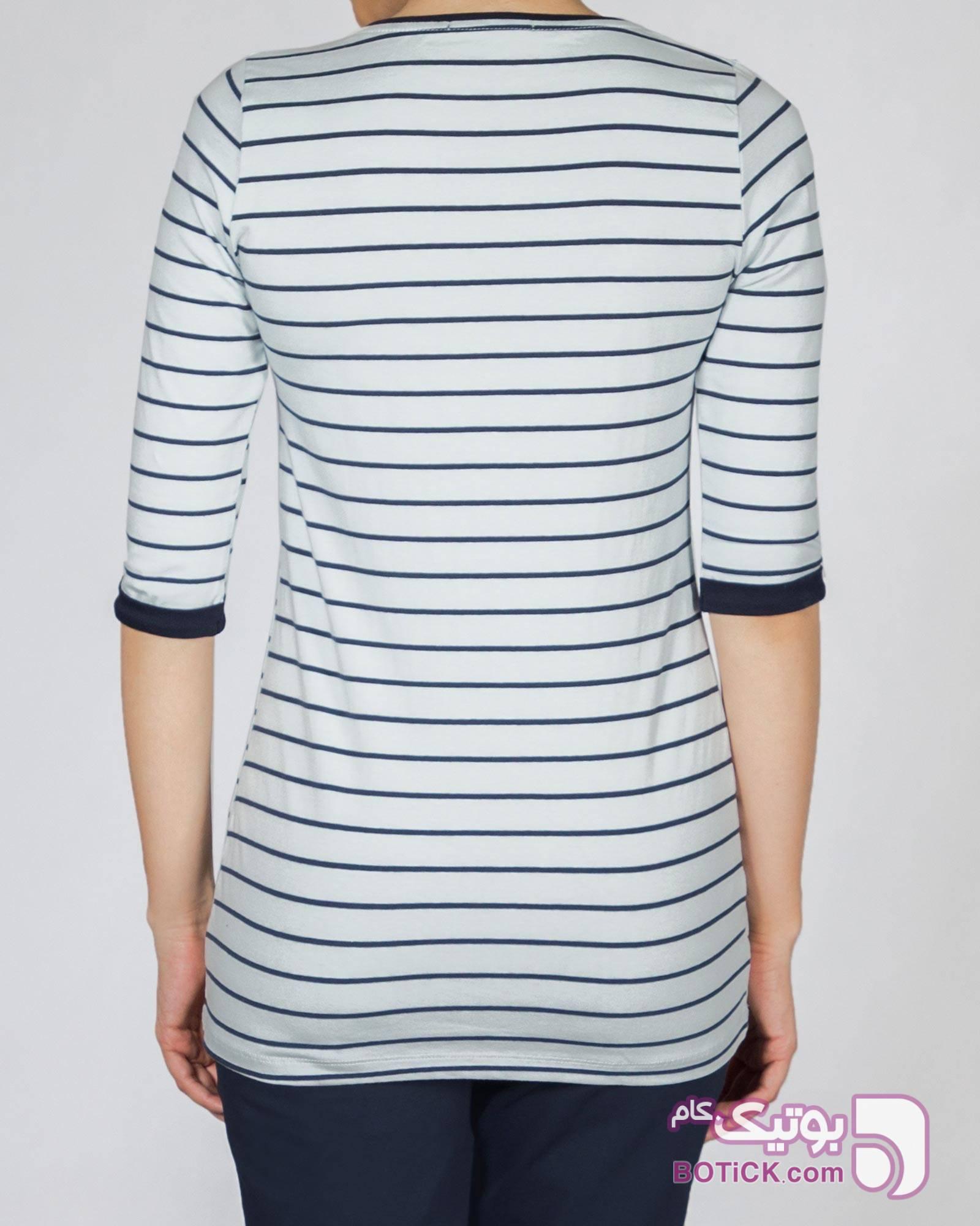 تیشرت راه راه زنانه سفید تی شرت زنانه