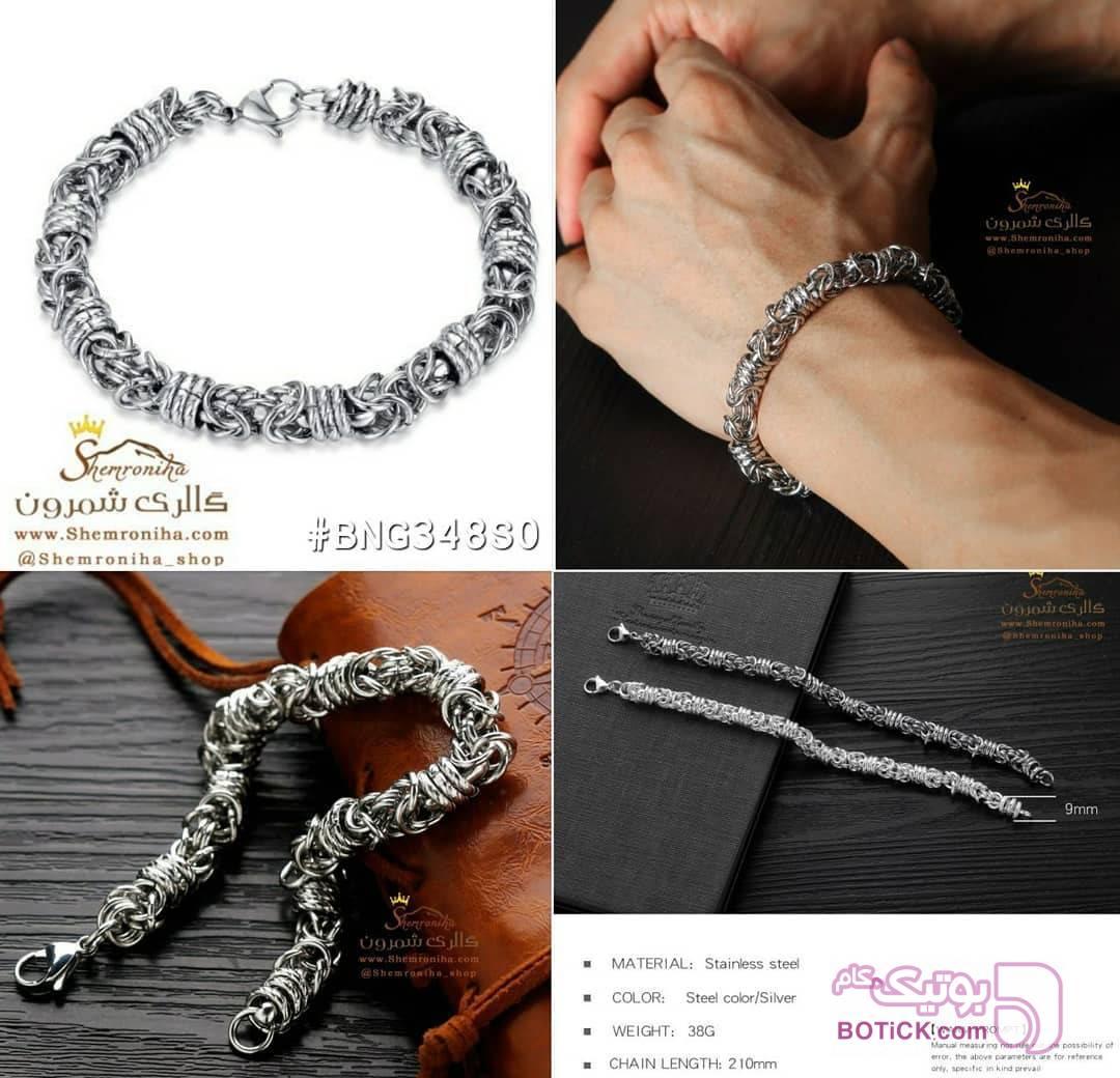دستبند مردانه بافت استیل نقره ای دستبند و پابند