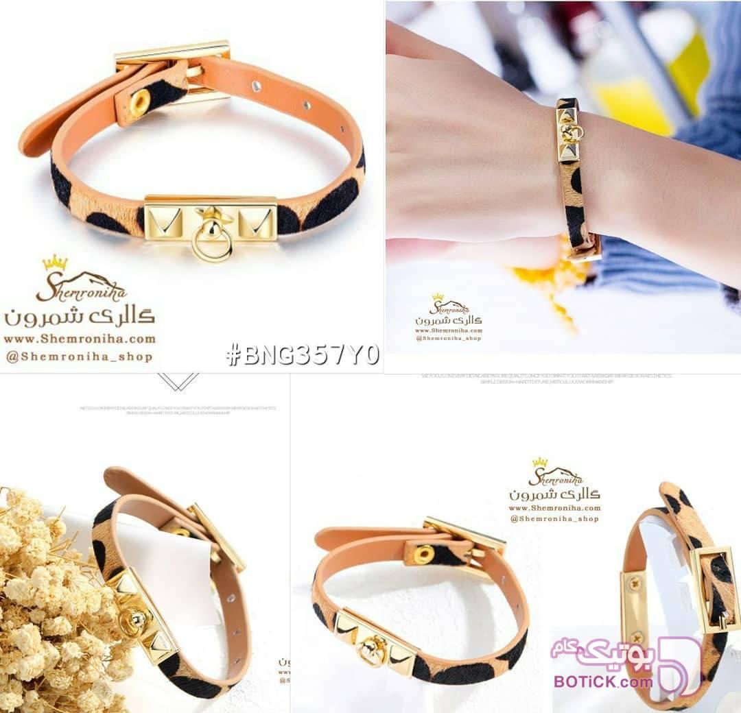 دستبند چرم پلنگی  مشکی دستبند و پابند