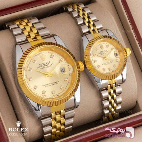 ست ساعت مردانه و زنانه Rolex مدل W10051 نقره ای ساعت