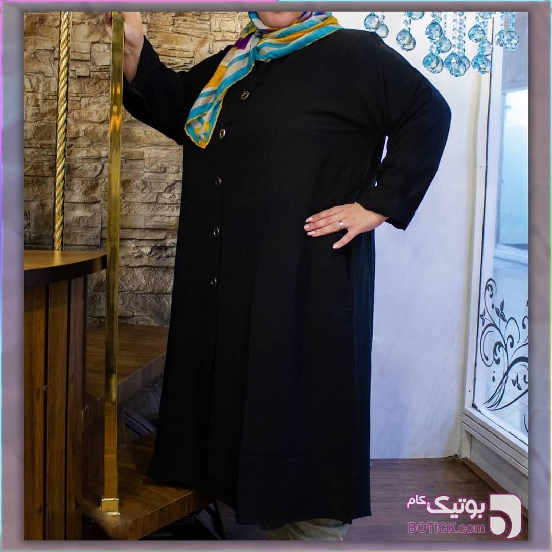 مانتو نخی  مشکی سایز بزرگ زنانه