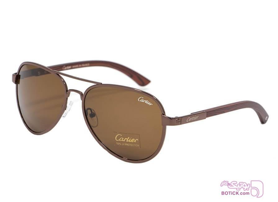 عینک کارتیر دسته چوبی Cartier سفید عینک آفتابی
