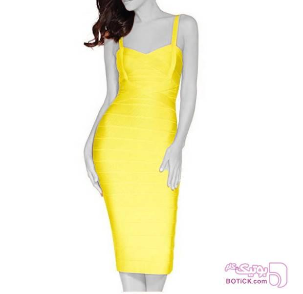 پیراهن مجلسی زنانه  زرد لباس  مجلسی