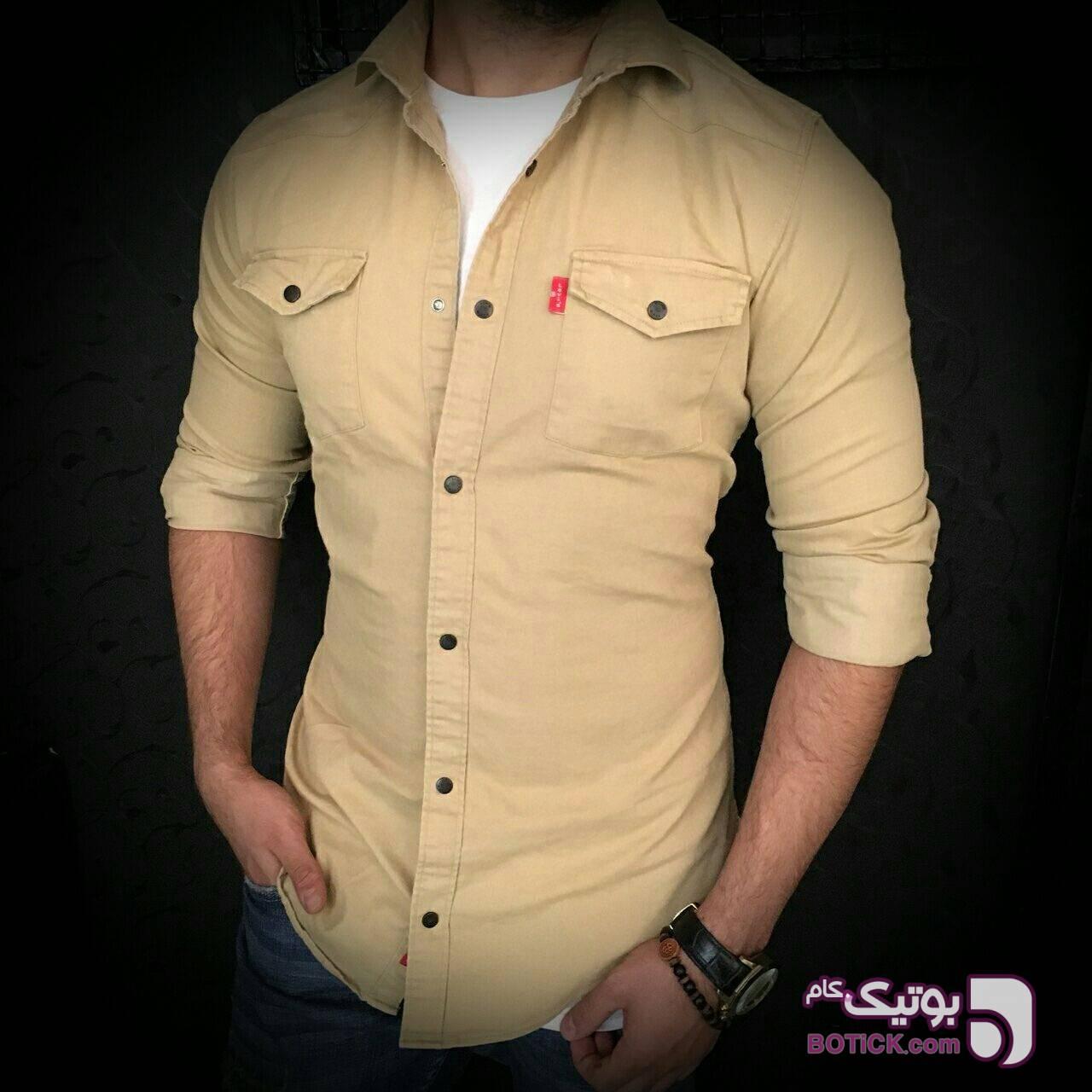 پیراهن کتان کش سبز پيراهن مردانه