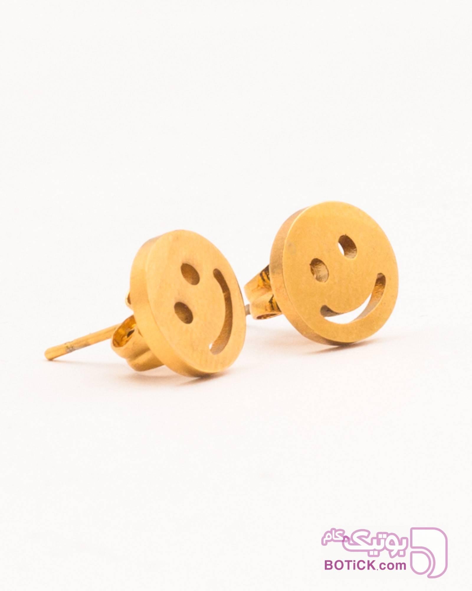 گوشواره دخترانه طرح ایموجی طلایی گوشواره