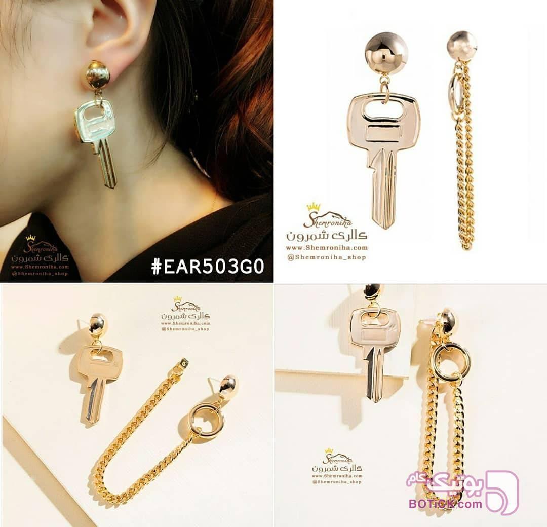 گوشواره نامتقارن کلید و زنجیر طلایی گوشواره
