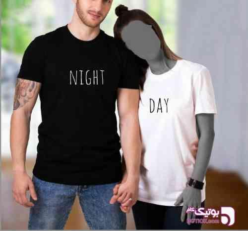 ست تیشرت مردانه و زنانه Night-Day مشکی 98 2019