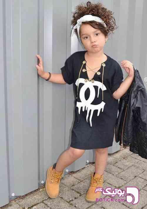 پیراهن دخترانه چاپ چنل پرفروش - لباس کودک دخترانه