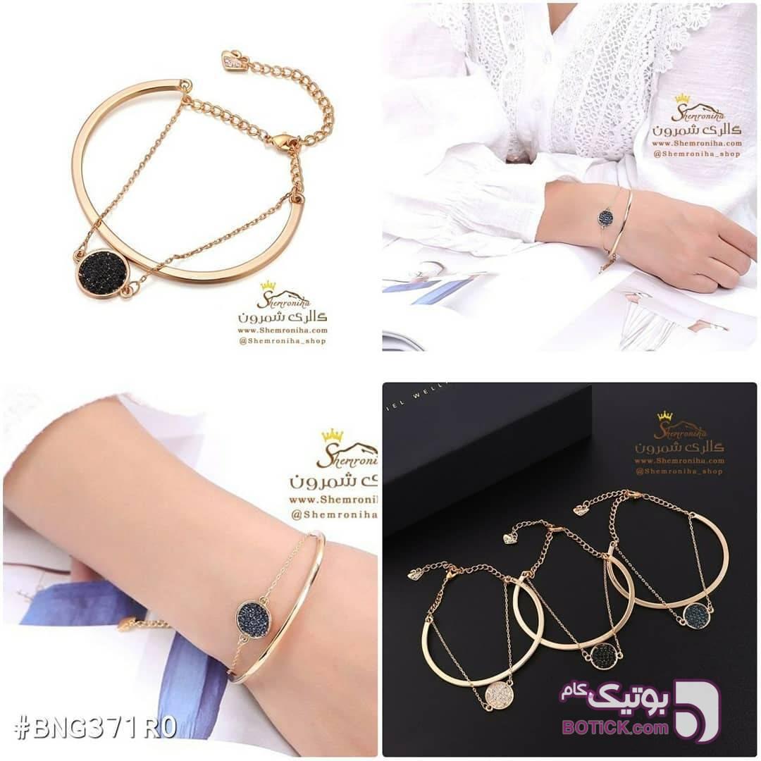 دستبند النگویی چاکدار با آویز حلقه کریستال صورتی دستبند و پابند