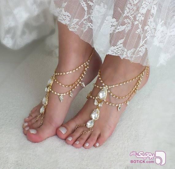 پا بند نقره ای دستبند و پابند