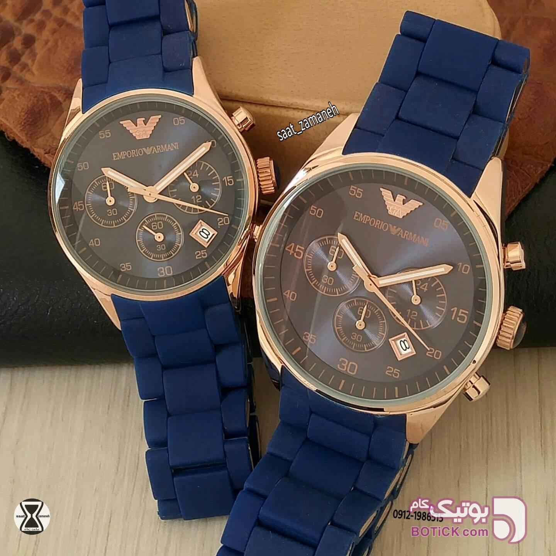 EMPORIO ARMANI ست زنانه/مردانه آبی ساعت