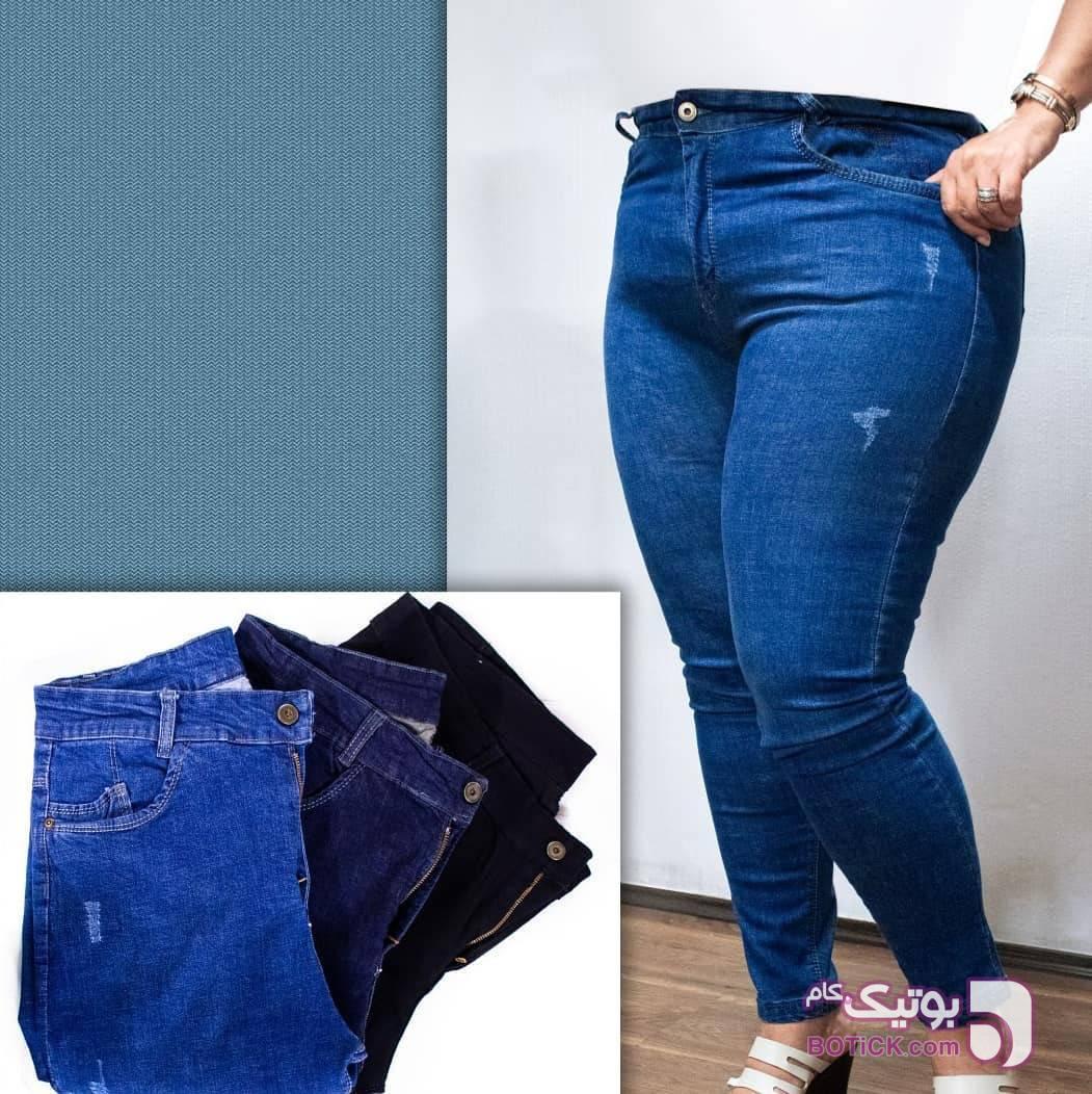 شلوار جین آبی سایز بزرگ زنانه