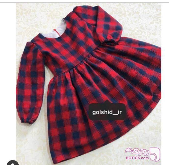پیراهن پاییزی  سورمه ای لباس کودک دخترانه
