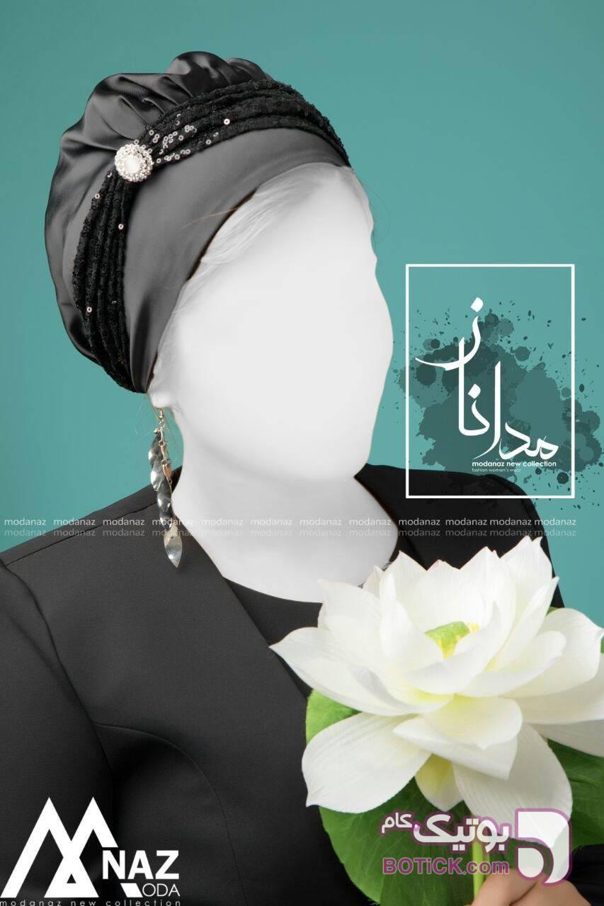 کلاه حجاب بسیار پرفروش و خاص مدل گل رز مشکی کلاه و اسکارف