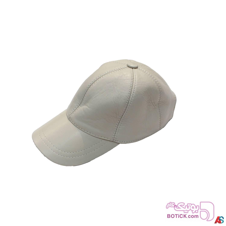 کلاه لبه دار اسپرت چرم کد محصول chk105 سفید کلاه و اسکارف