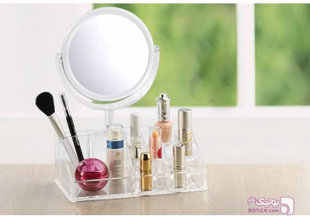 استند لوازم آرایشی اکرولیک آینه دار سفید ابزار آرایشی