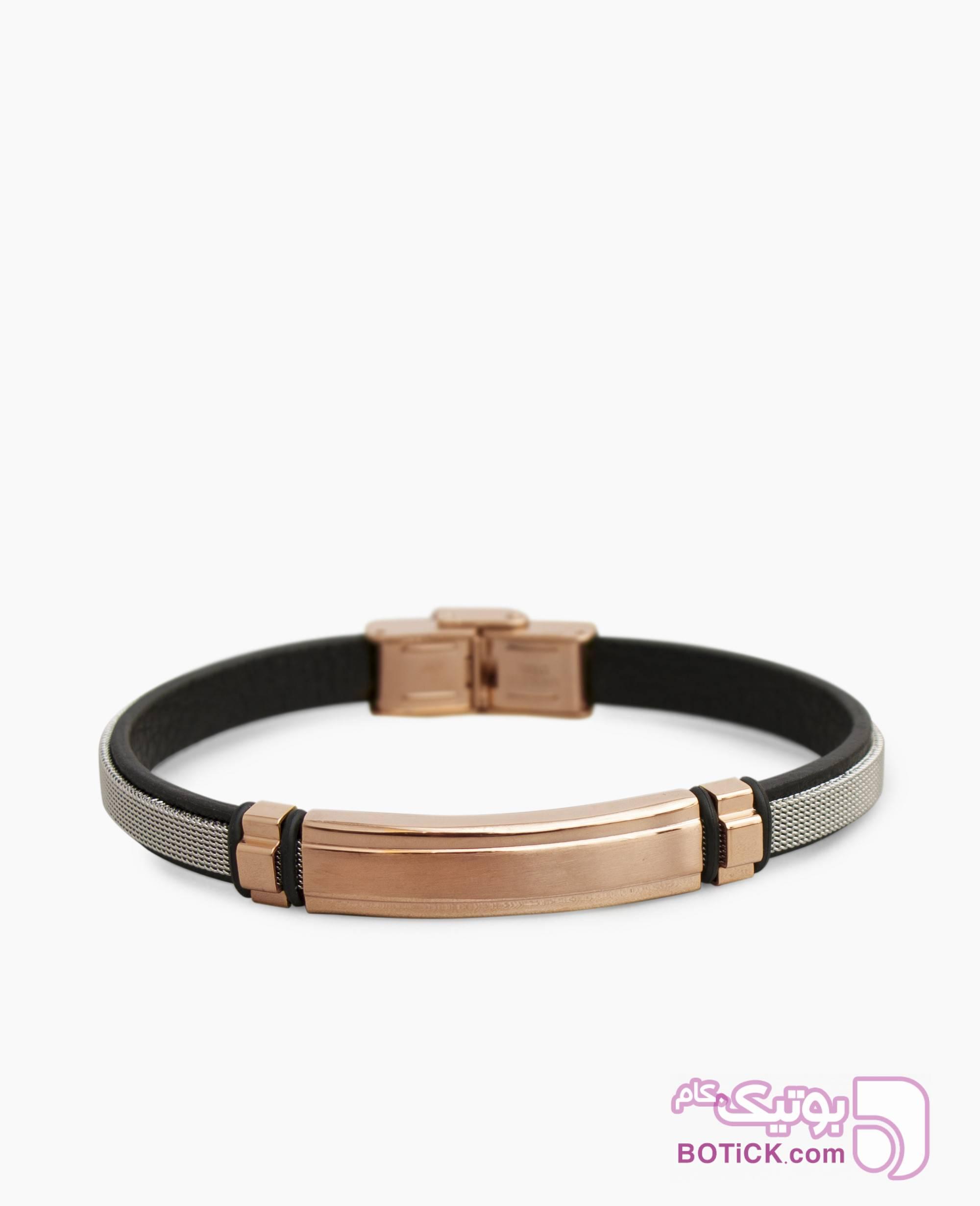 دستبند چرم و استیل کد 60750 مشکی دستبند و پابند