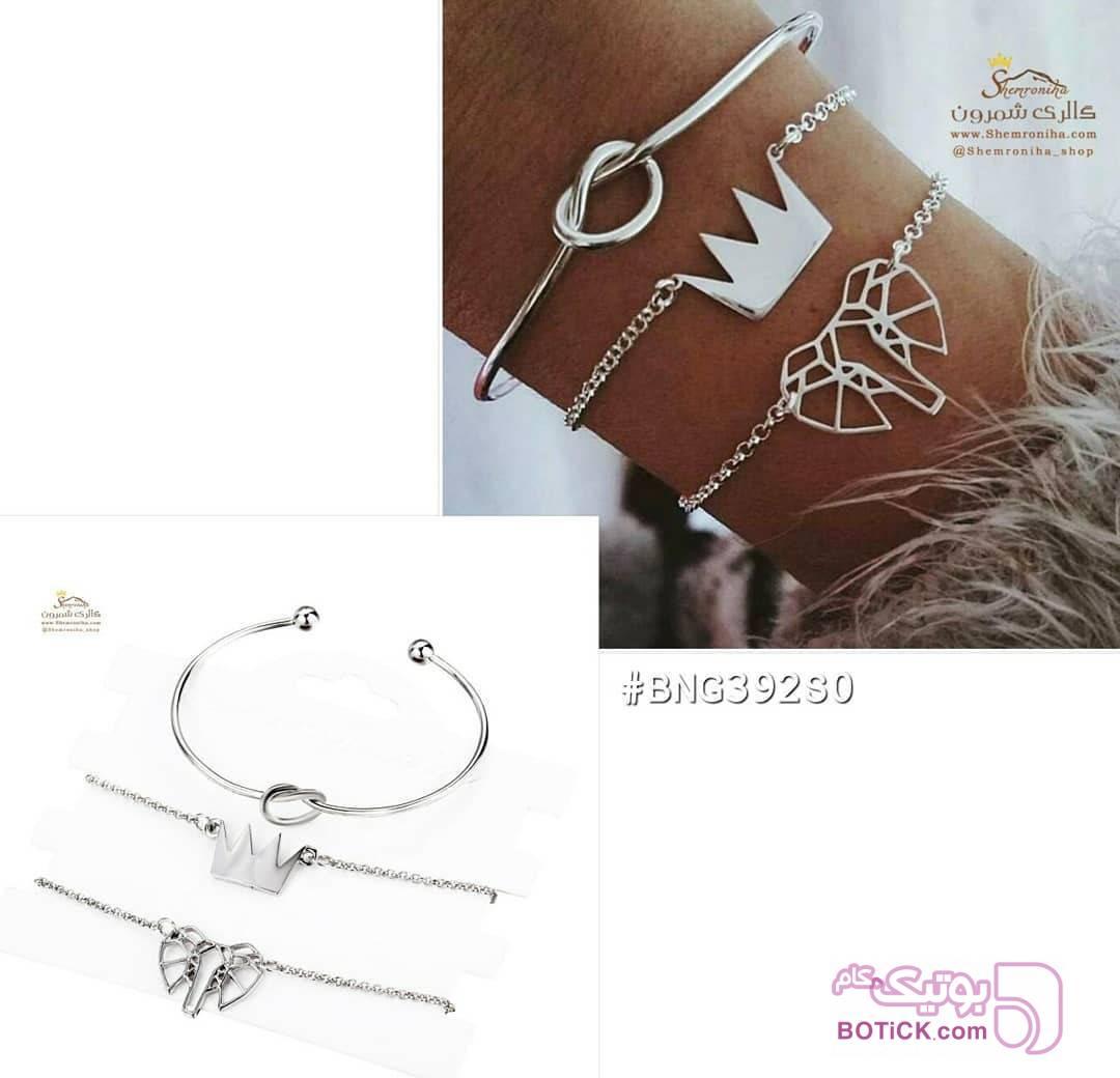 پک دستبند 3 تکه جیپسی تاج نقره ای دستبند و پابند