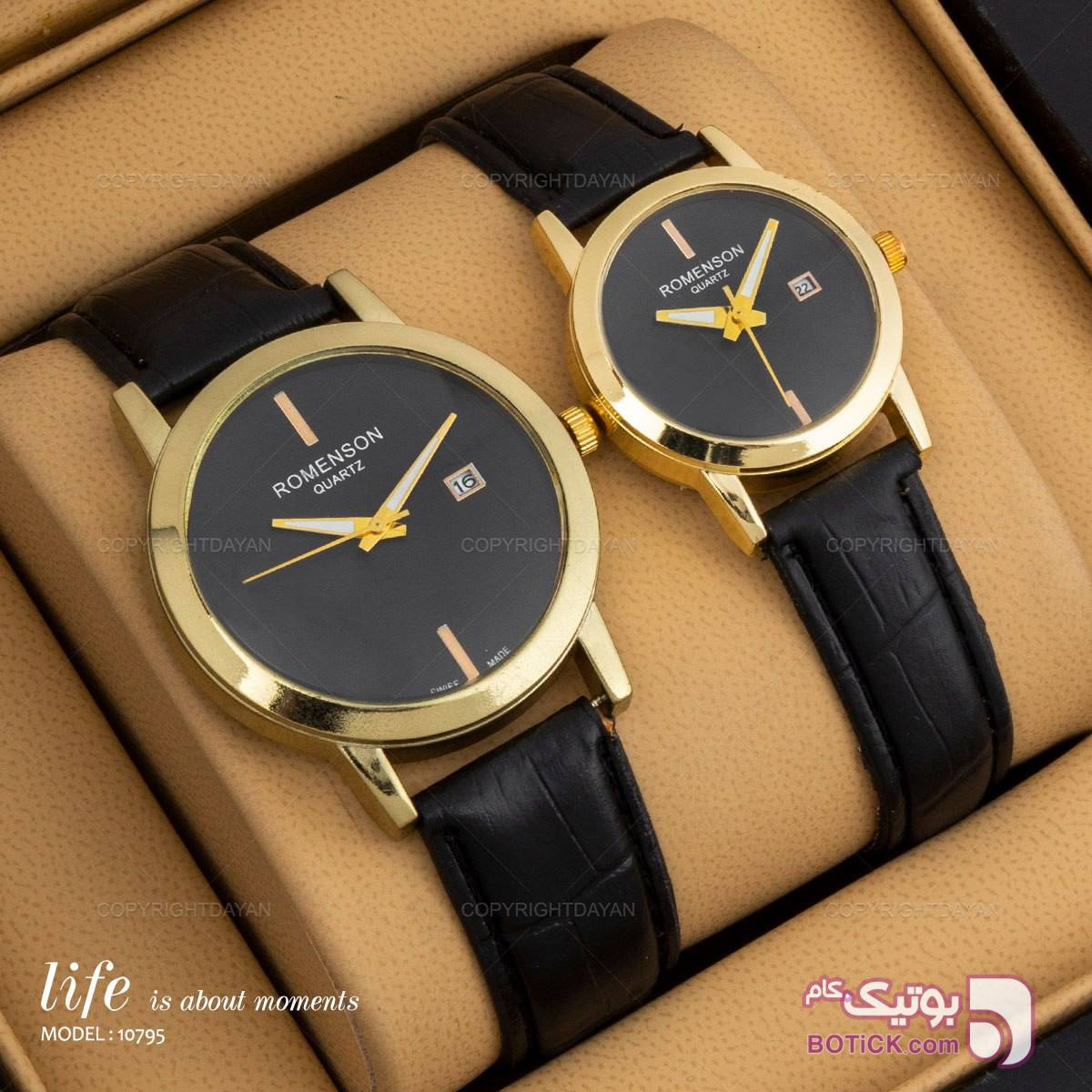 ست ساعت مردانه و زنانه رومانسون مشکی ساعت