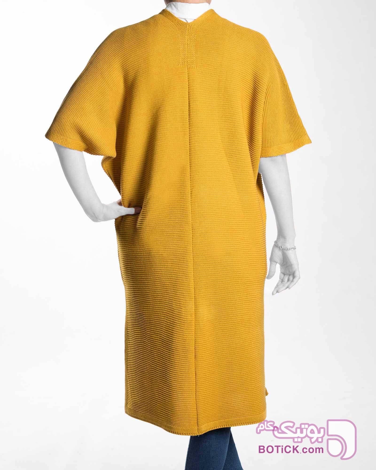 ژاکت بافت بلند ساده زنانه زرد سوئیشرت زنانه