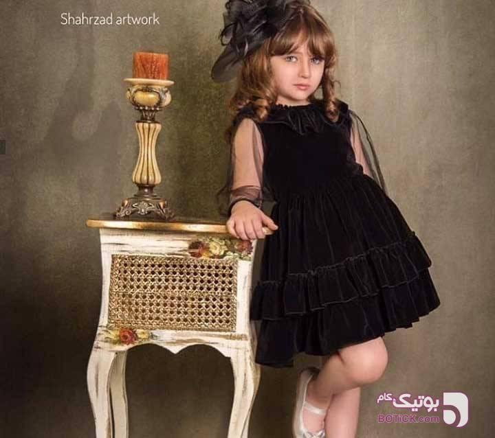 پیراهن مخمل شیک مشکی لباس کودک دخترانه