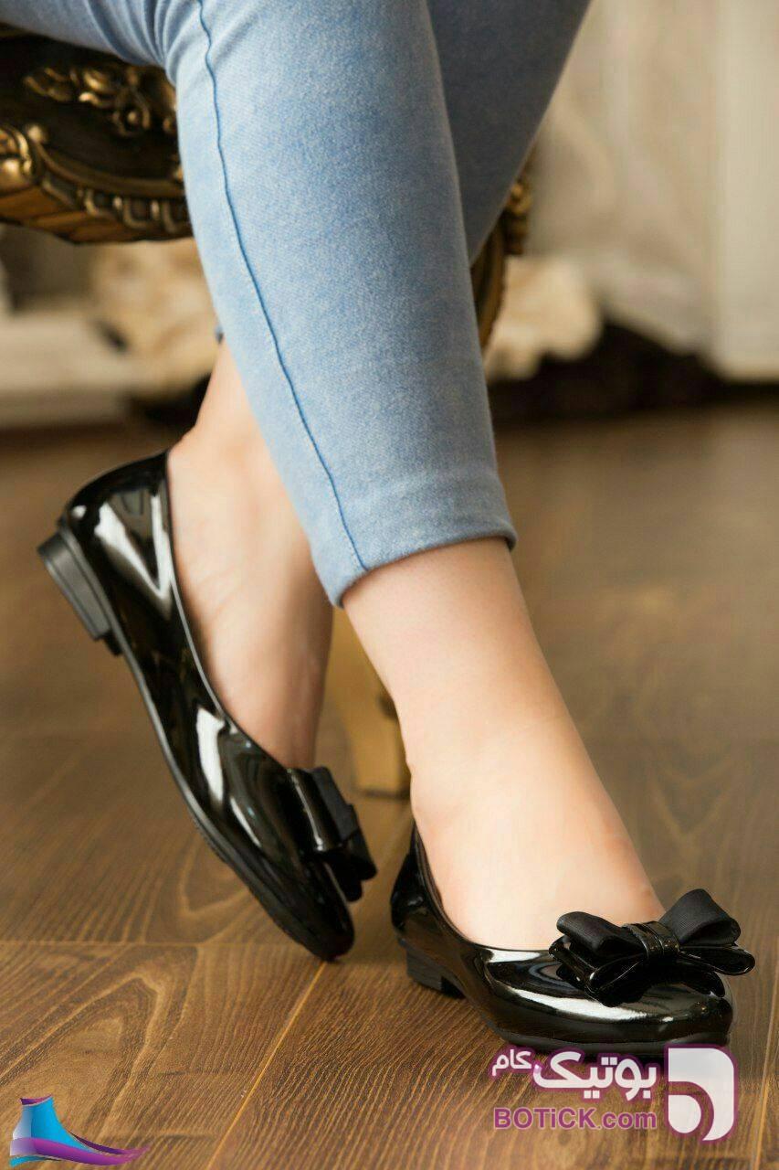کتانی گد ۱۲۸  جنس ورنی قالب استاندارد مشکی كفش زنانه