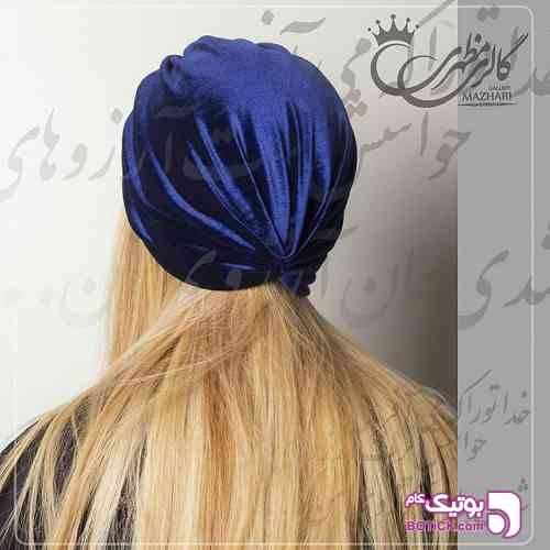 کلاه حجاب مجلسی شیک زرد کلاه و اسکارف