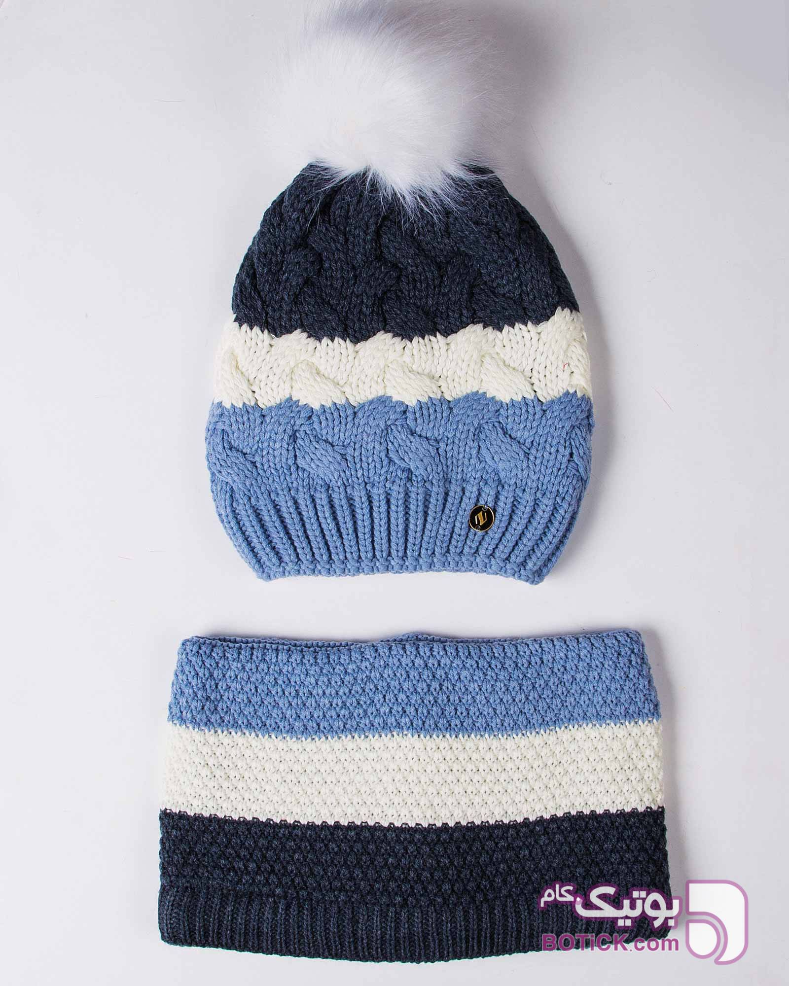 کلاه و شال گردن رینگی بافت راه راه رنگی زرد کلاه و اسکارف