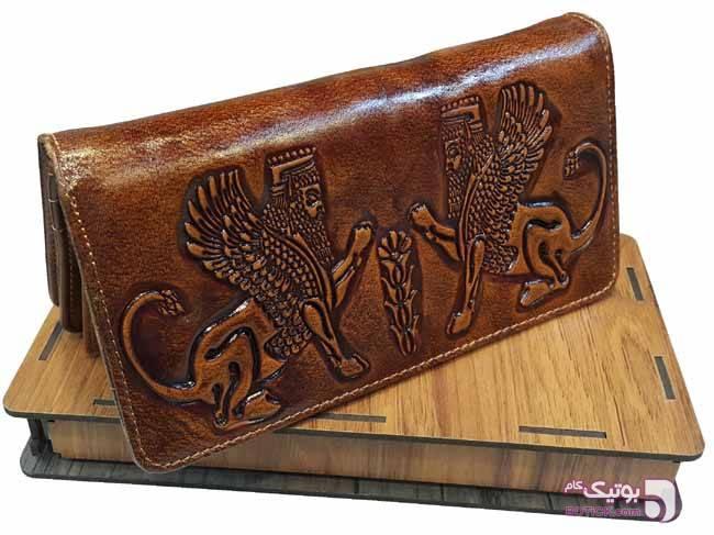 کیف پول کتی چرم مردانه- جعبه کادویی قهوه ای كيف مردانه