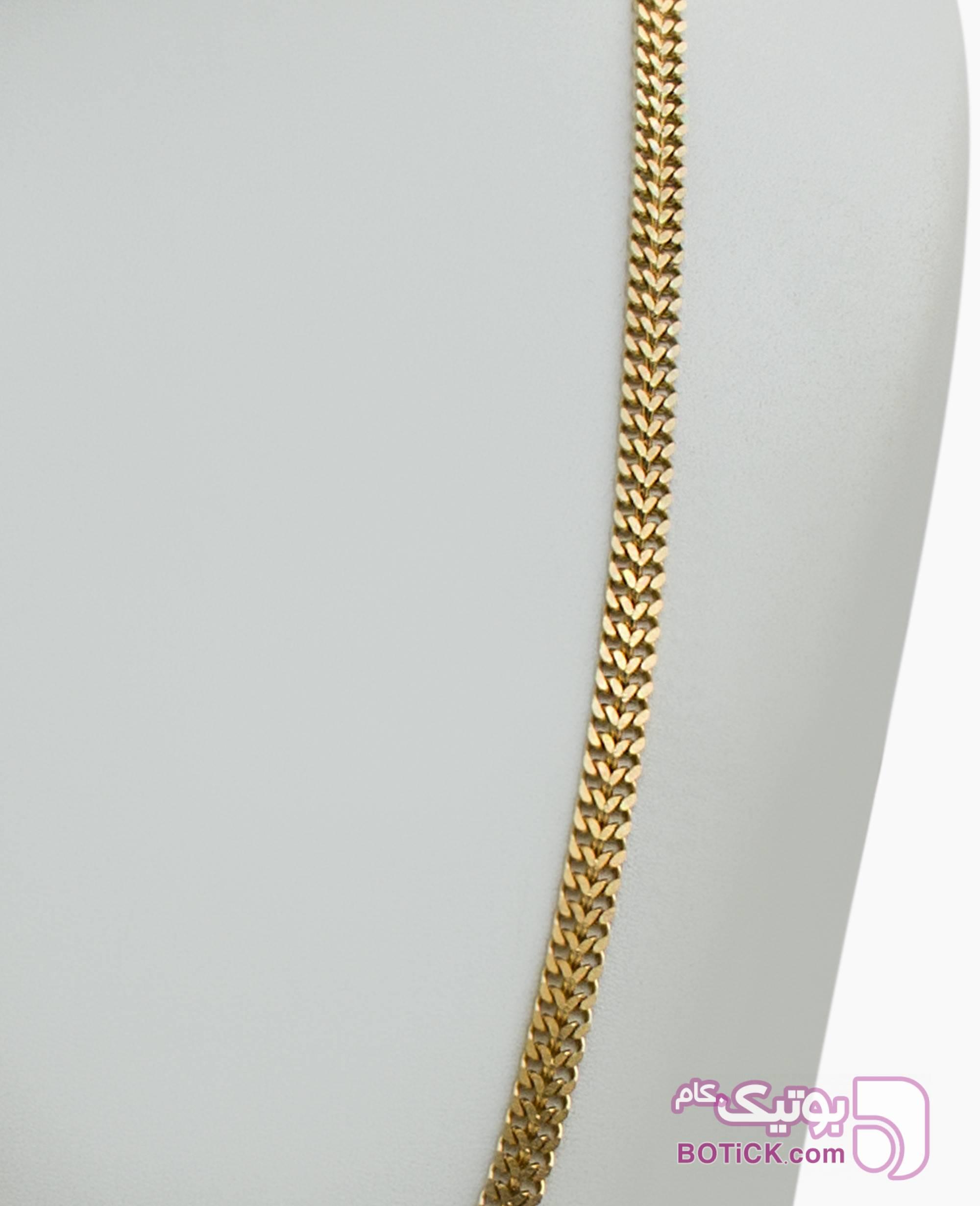 گردنبند استیل کلاسیک کد 7153 طلایی گردنبند