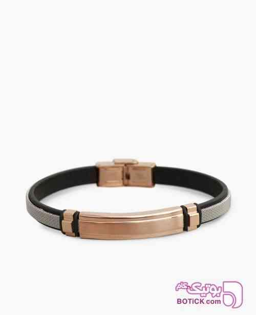 دستبند چرم و استیل کد 60750 مشکی 98 2019