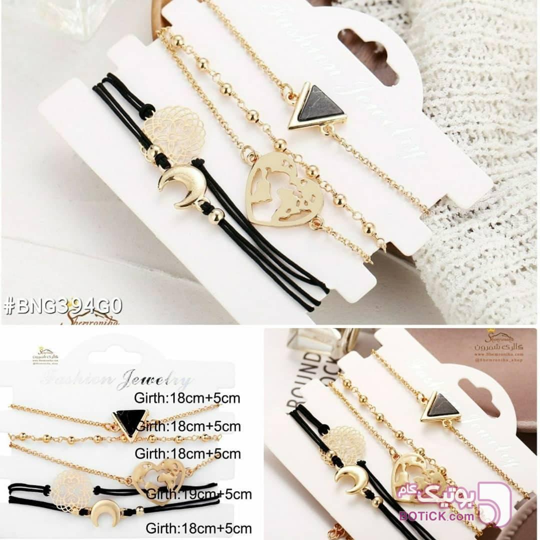 پک دستبند 5 تکه جیپسی مشکی دستبند و پابند