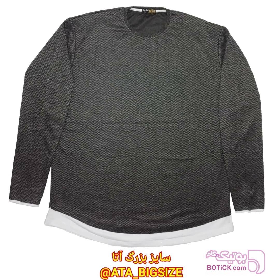 تیشرت پشمی آستین بلند  مشکی سایز بزرگ مردانه