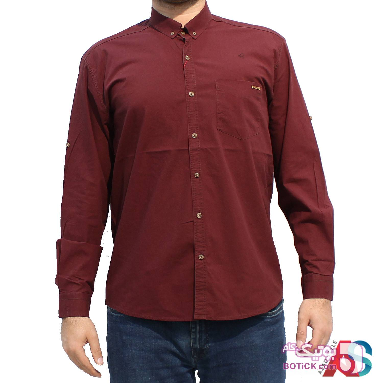 پیراهن کتان سایز بزرگ کد محصول ktb 101 زرشکی سایز بزرگ مردانه
