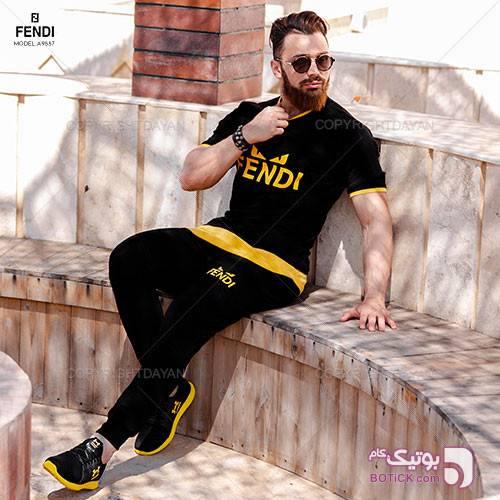 ست تیشرت و شلوار مردانه Fendi مدل A9557 مشکی ست ورزشی مردانه