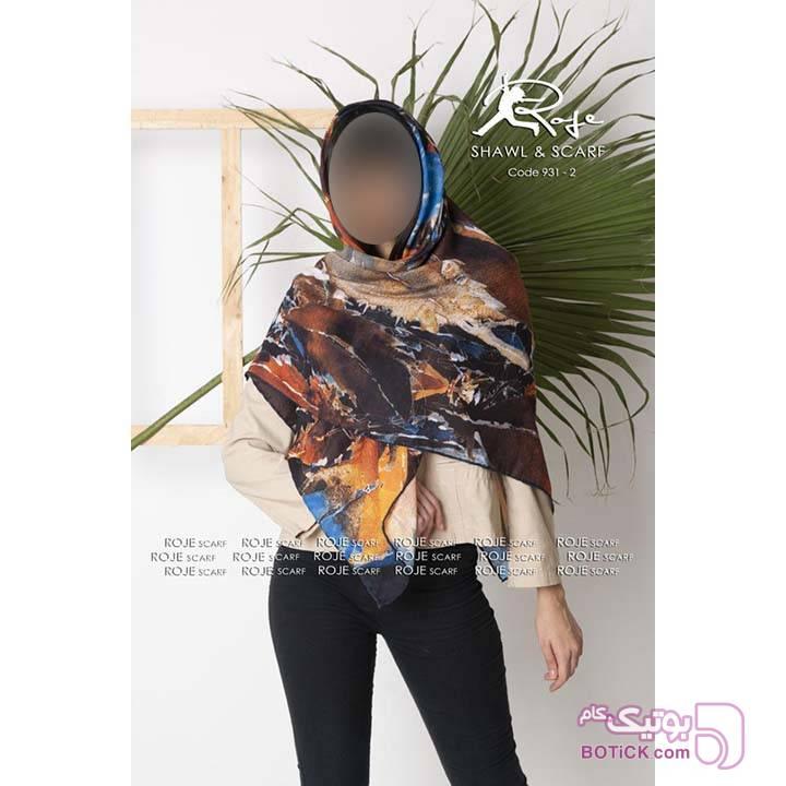 روسری نخی پاییزه روژه طرح برگ پاییزی قهوه ای شال و روسری