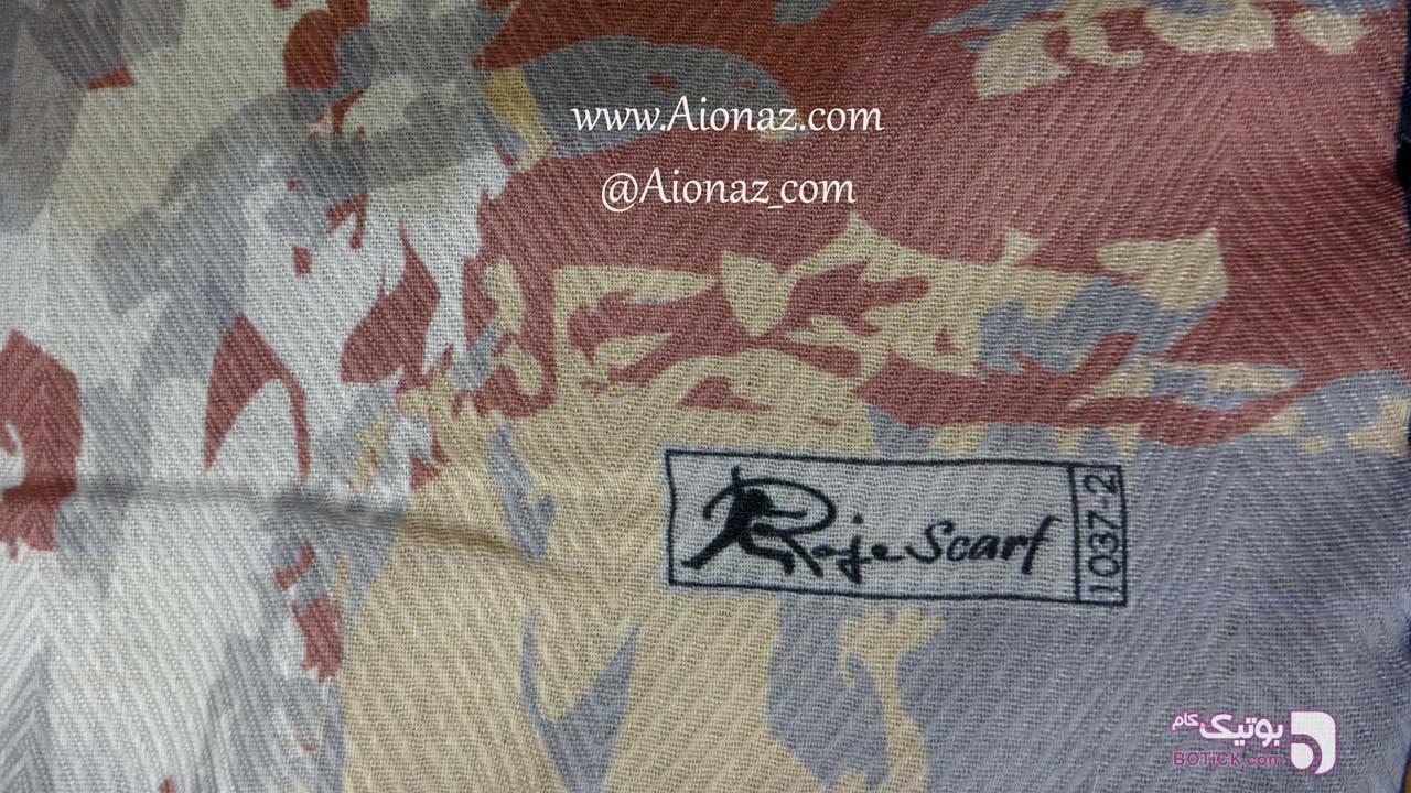 روسری نخی پاییزه روژه طرح تودرتو نقره ای شال و روسری