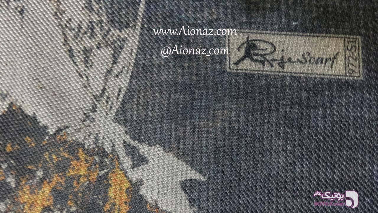 شال نخی پاییزه کجراه روژه طرح درخت پاییز طوسی شال و روسری