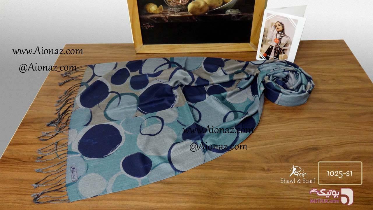 شال نخی پاییزه کجراه روژه طرح دریم لوپ آبی شال و روسری