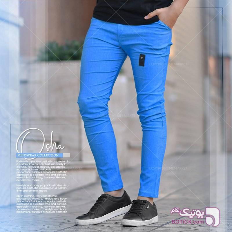 شلوار اسلش osha آبی شلوار مردانه پارچه ای و کتان مردانه