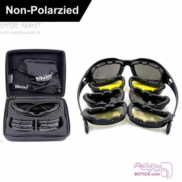 ست عینک تاکتیکال دایزی 4لنز DAISY C5 مشکی عینک آفتابی