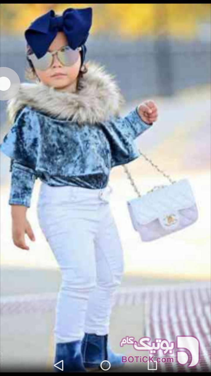 بلوزمخمل خزدار آبی لباس کودک دخترانه