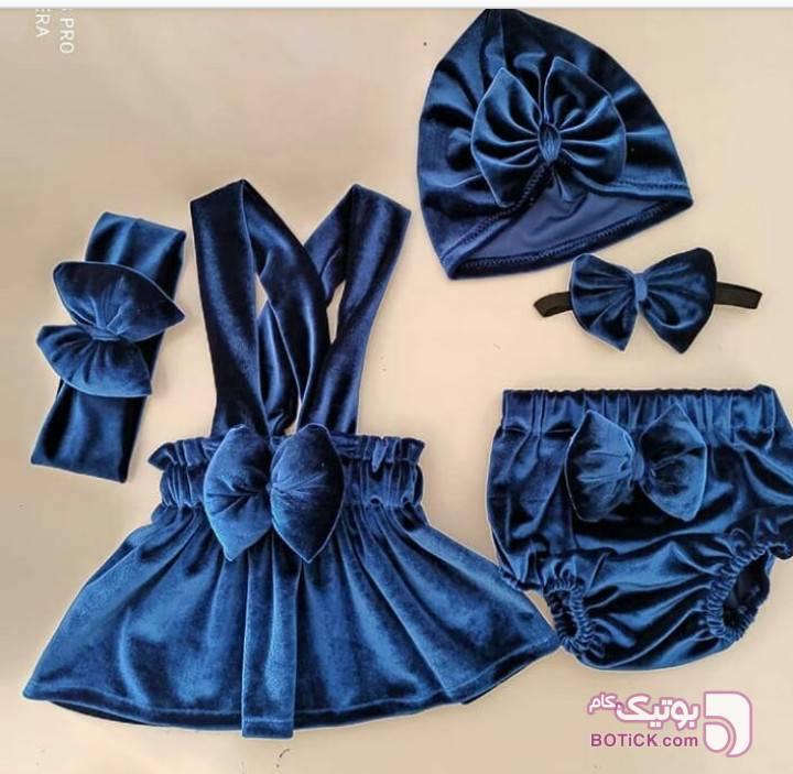 ست مخملی آبی لباس کودک دخترانه