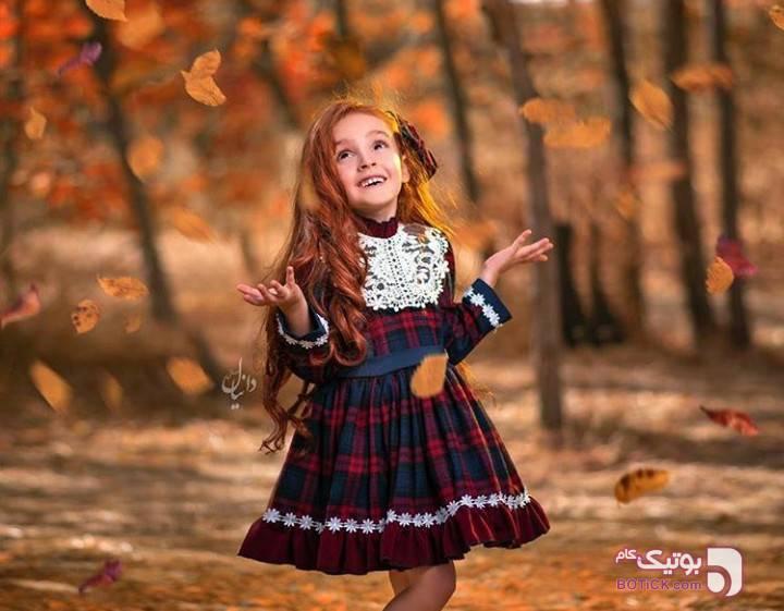 پیراهن شیک دخترانه پاییزی آبی لباس کودک دخترانه