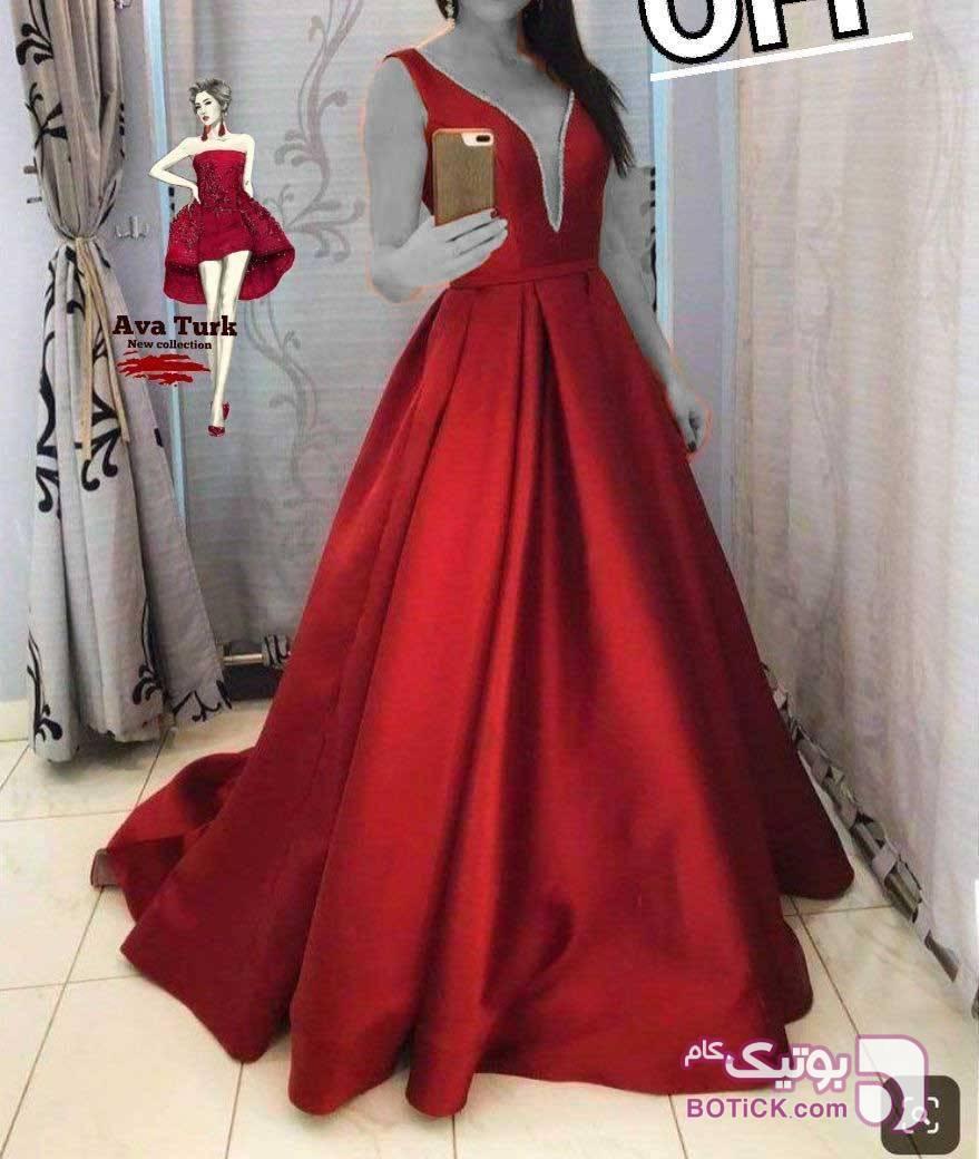 ❤️ مجلسی شیک ترک❤️ساتن درجه یک اعلا قرمز لباس  مجلسی