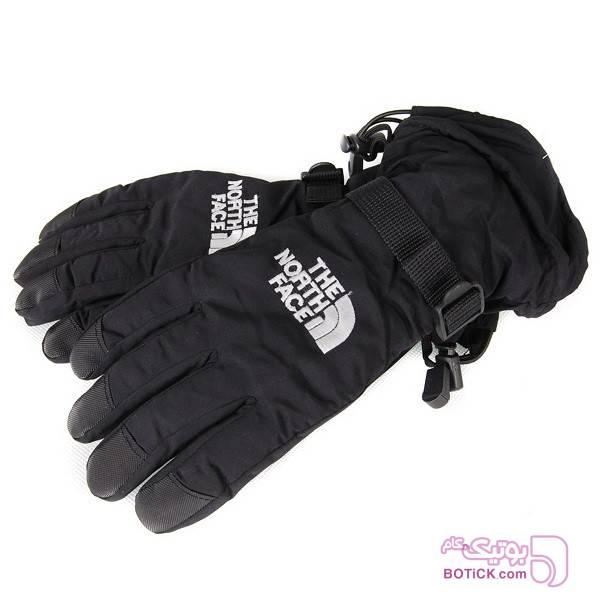 دستکش دوپوش زمستانی اسکی THE NORTH FACE مشکی کلاه بافت و شال گردن و دستکش