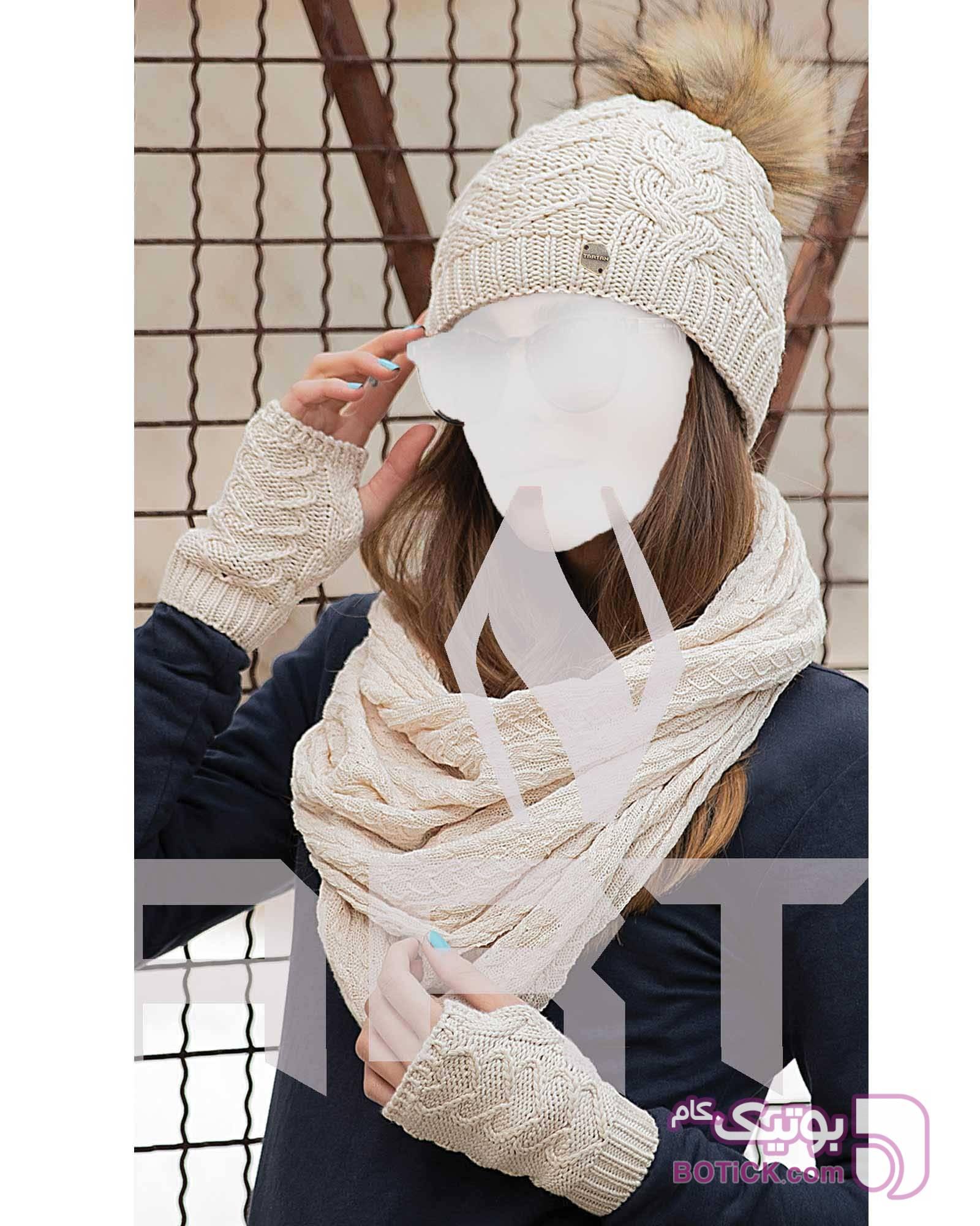 ست کلاه و شال بافت و دستکش مشکی کلاه بافت و شال گردن و دستکش