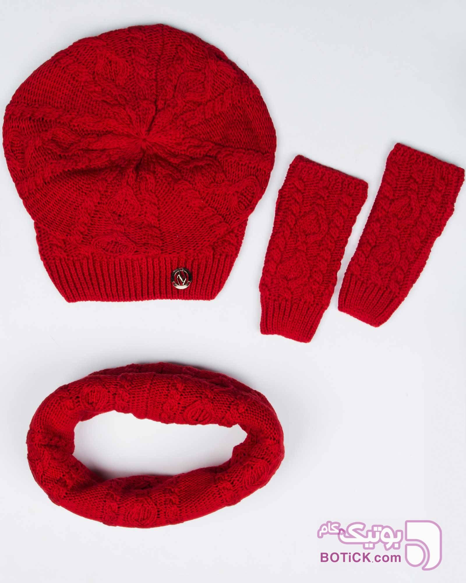 کلاه و شال گردن رینگی و دستکش بافت ساده مشکی کلاه بافت و شال گردن و دستکش