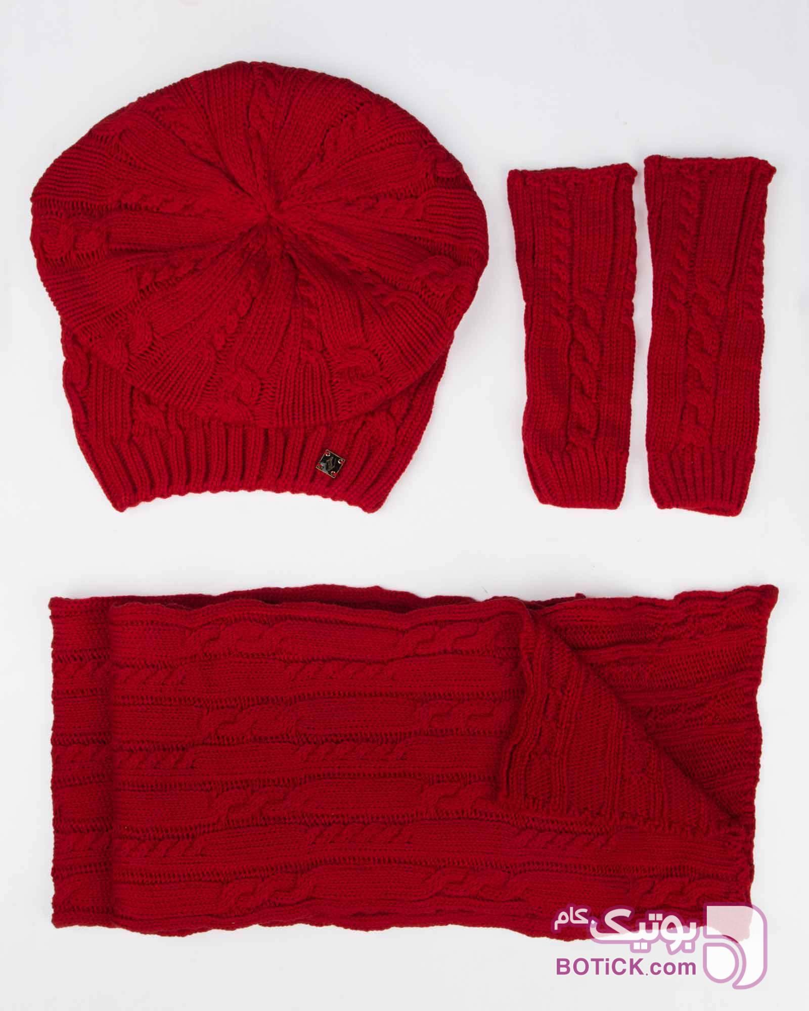 کلاه کج و شال گردن و دست پوش بافت مشکی کلاه بافت و شال گردن و دستکش